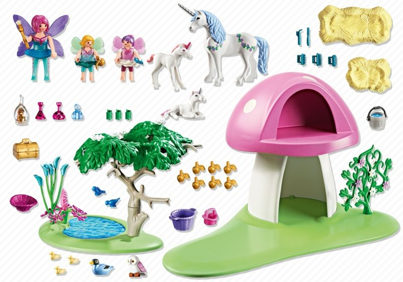 playmobil set 6055 feenw ldchen mit einhornpflege. Black Bedroom Furniture Sets. Home Design Ideas