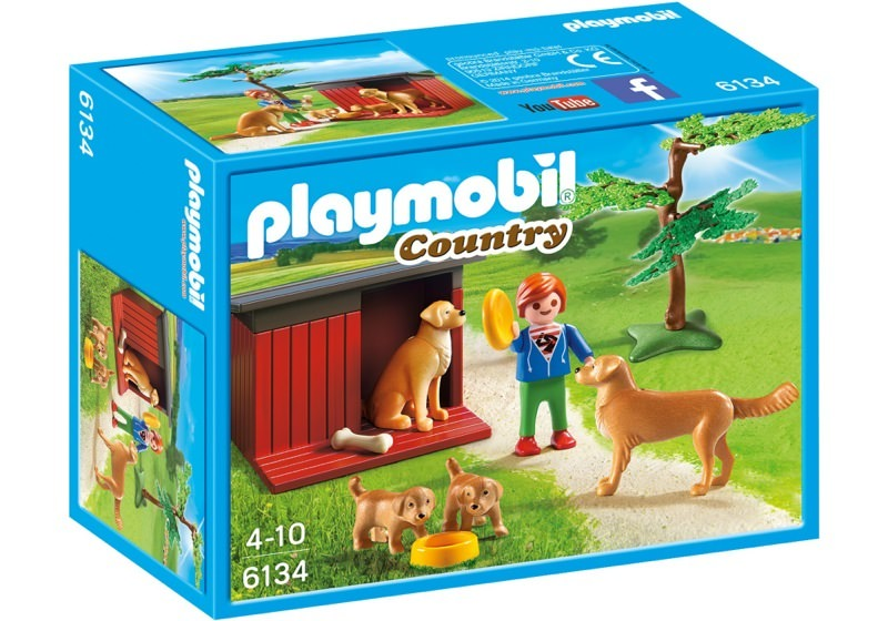 Playmobil 6134 - Golden Retrievers with Toy - Box