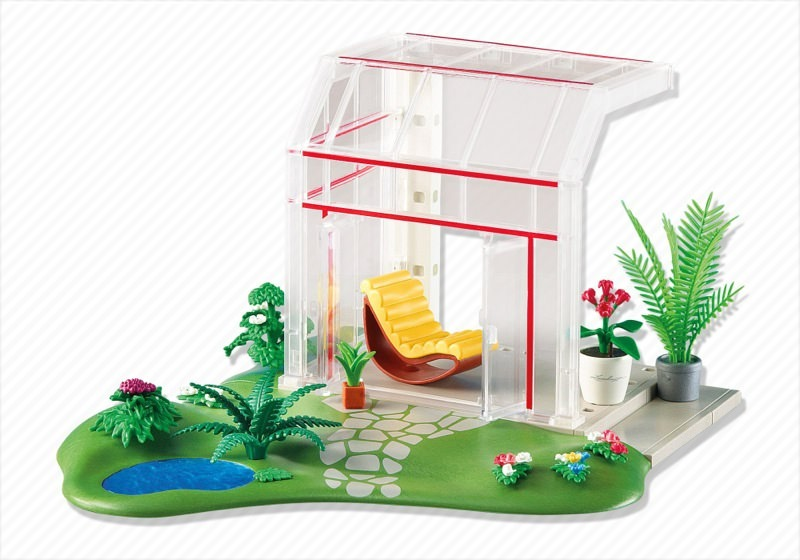 Playmobil set 6299 glass conservatory klickypedia for Extension maison 4279