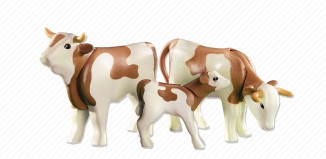 Playmobil - 6356 - 2 Cows with Calfs, white and brown