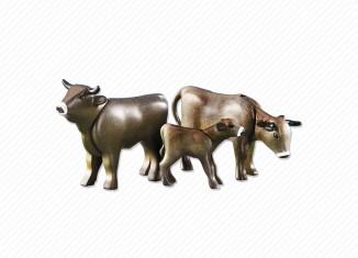 Playmobil - 6357 - 2 Cows with Calfs, dark brown
