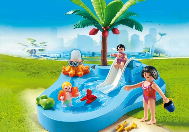 Playmobil set 6673 baby pool with slide klickypedia for Playmobil la piscine