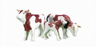 Playmobil - 7079 - 2 Brown Cows with Calf